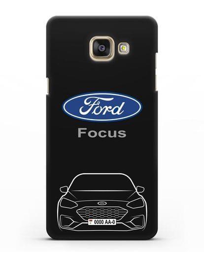 Чехол Ford Focus с автомобильным номером силикон черный для Samsung Galaxy A7 2016 [SM-A710F]