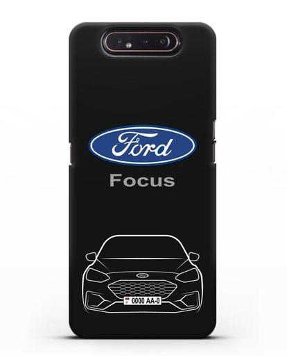 Чехол Ford Focus с автомобильным номером силикон черный для Samsung Galaxy A80 [SM-A805F]