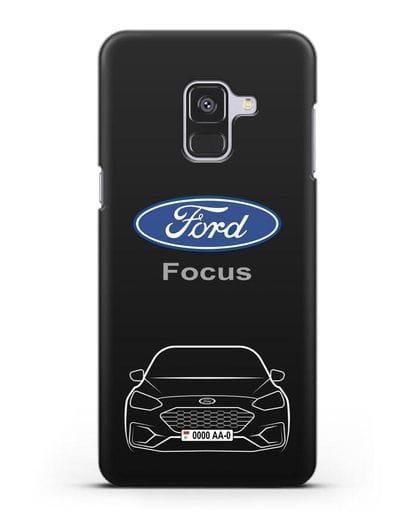 Чехол Ford Focus с автомобильным номером силикон черный для Samsung Galaxy A8 [SM-A530F]