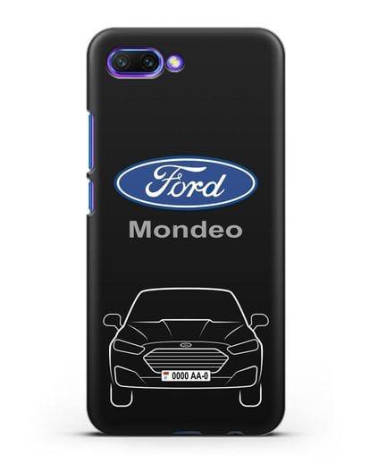 Чехол Ford Mondeo с номерным знаком силикон черный для Honor 10