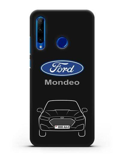 Чехол Ford Mondeo с номерным знаком силикон черный для Honor 10i