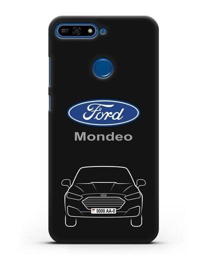 Чехол Ford Mondeo с номерным знаком силикон черный для Honor 7А Pro