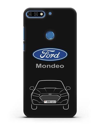 Чехол Ford Mondeo с номерным знаком силикон черный для Honor 7C Pro