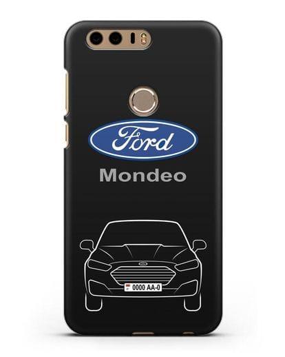 Чехол Ford Mondeo с номерным знаком силикон черный для Honor 8