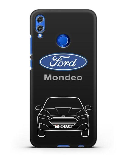 Чехол Ford Mondeo с номерным знаком силикон черный для Honor 8X