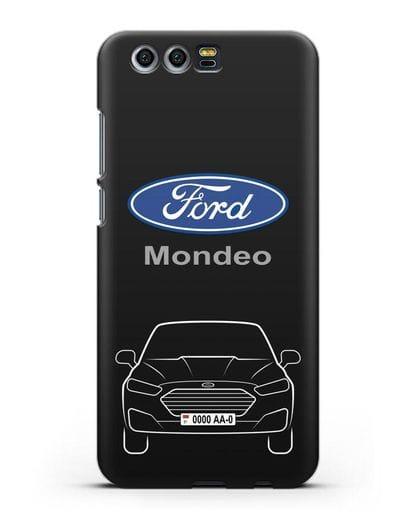 Чехол Ford Mondeo с номерным знаком силикон черный для Honor 9