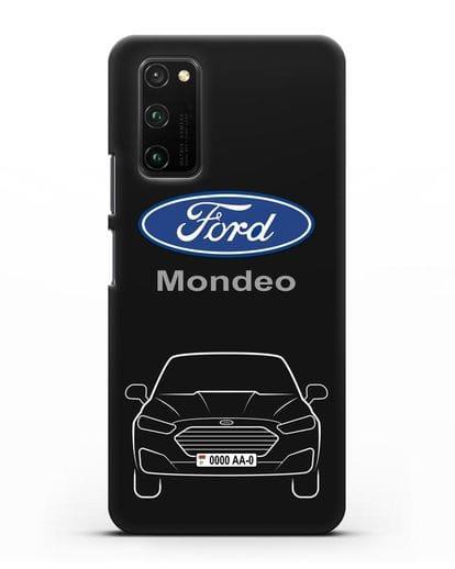 Чехол Ford Mondeo с номерным знаком силикон черный для Honor View 30 Pro