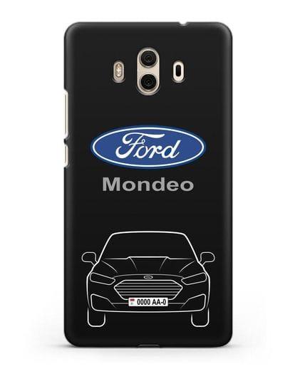 Чехол Ford Mondeo с номерным знаком силикон черный для Huawei Mate 10