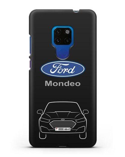 Чехол Ford Mondeo с номерным знаком силикон черный для Huawei Mate 20