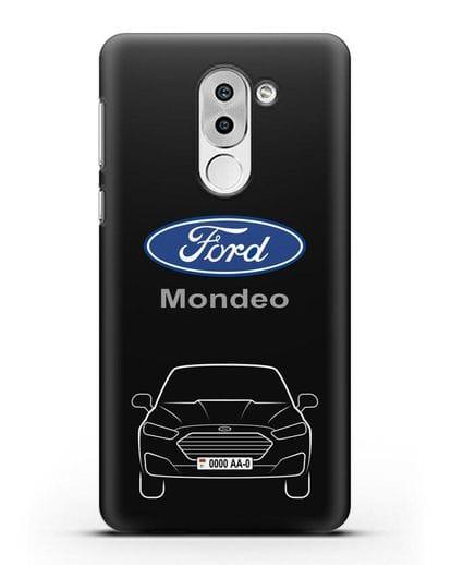 Чехол Ford Mondeo с номерным знаком силикон черный для Huawei Mate 9 Lite