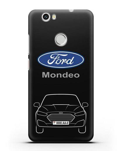 Чехол Ford Mondeo с номерным знаком силикон черный для Huawei Nova