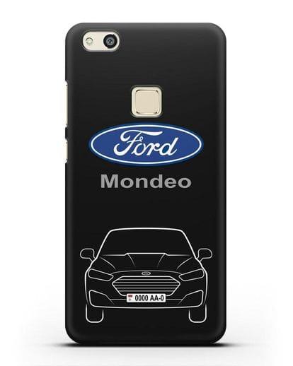 Чехол Ford Mondeo с номерным знаком силикон черный для Huawei P10 Lite