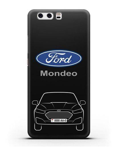 Чехол Ford Mondeo с номерным знаком силикон черный для Huawei P10 Plus