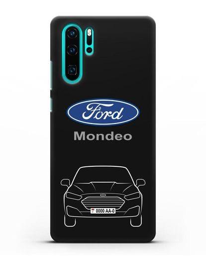 Чехол Ford Mondeo с номерным знаком силикон черный для Huawei P30 Pro