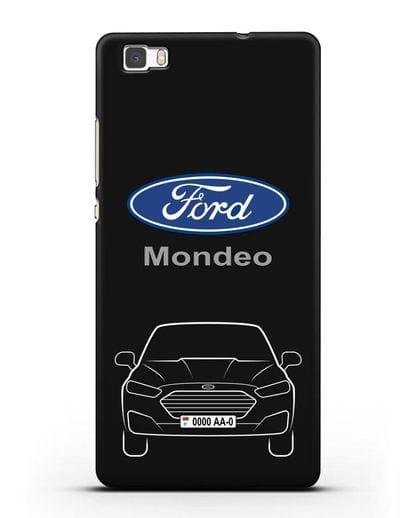 Чехол Ford Mondeo с номерным знаком силикон черный для Huawei P8 Lite