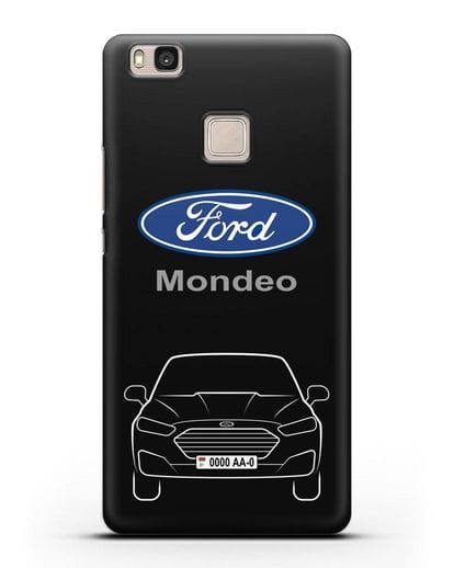 Чехол Ford Mondeo с номерным знаком силикон черный для Huawei P9 Lite