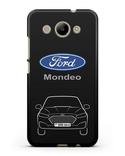 Чехол Ford Mondeo с номерным знаком силикон черный для Huawei Y3 2017