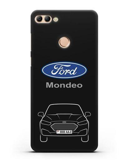 Чехол Ford Mondeo с номерным знаком силикон черный для Huawei Y9 2018