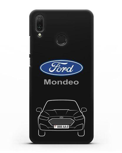 Чехол Ford Mondeo с номерным знаком силикон черный для Huawei Y9 2019