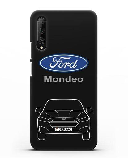 Чехол Ford Mondeo с номерным знаком силикон черный для Huawei Y9s