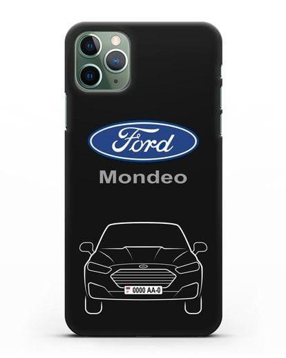 Чехол Ford Mondeo с номерным знаком силикон черный для iPhone 11 Pro Max