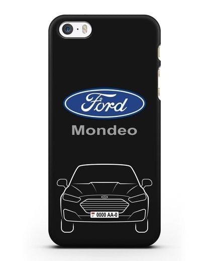Чехол Ford Mondeo с номерным знаком силикон черный для iPhone 5/5s/SE