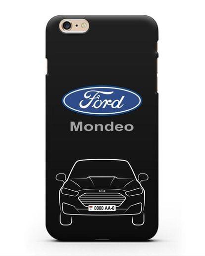 Чехол Ford Mondeo с номерным знаком силикон черный для iPhone 6 Plus