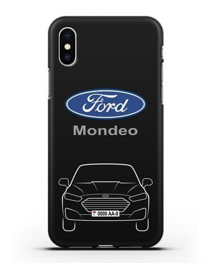 Чехол Ford Mondeo с номерным знаком силикон черный для iPhone XS