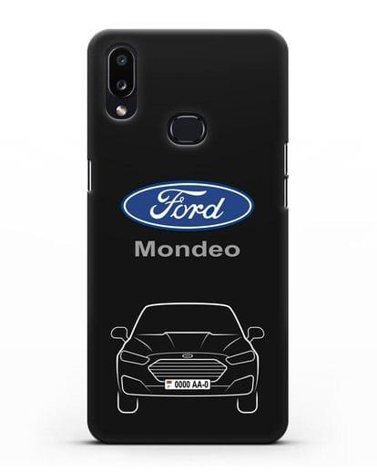 Чехол Ford Mondeo с номерным знаком силикон черный для Samsung Galaxy A10s [SM-F107F]
