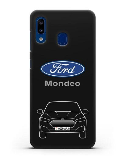 Чехол Ford Mondeo с номерным знаком силикон черный для Samsung Galaxy A20 [SM-A205FN]