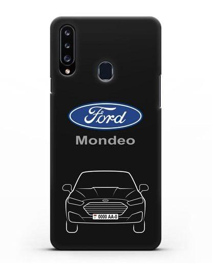 Чехол Ford Mondeo с номерным знаком силикон черный для Samsung Galaxy A20s [SM-A207FN]