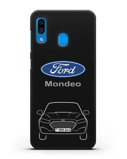 Чехол Ford Mondeo с номерным знаком силикон черный для Samsung Galaxy A30 [SM-A305FN]