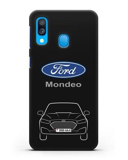 Чехол Ford Mondeo с номерным знаком силикон черный для Samsung Galaxy A40 [SM-A405F]