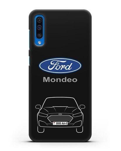 Чехол Ford Mondeo с номерным знаком силикон черный для Samsung Galaxy A50 [SM-A505F]