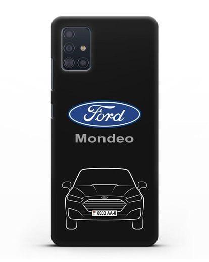 Чехол Ford Mondeo с номерным знаком силикон черный для Samsung Galaxy A51 [SM-A515F]