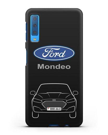 Чехол Ford Mondeo с номерным знаком силикон черный для Samsung Galaxy A7 2018 [SM-A750F]
