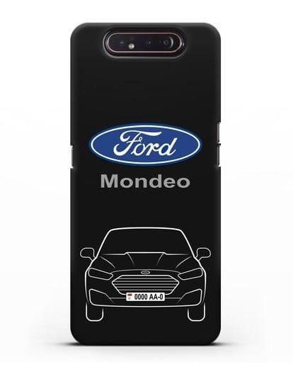 Чехол Ford Mondeo с номерным знаком силикон черный для Samsung Galaxy A80 [SM-A805F]