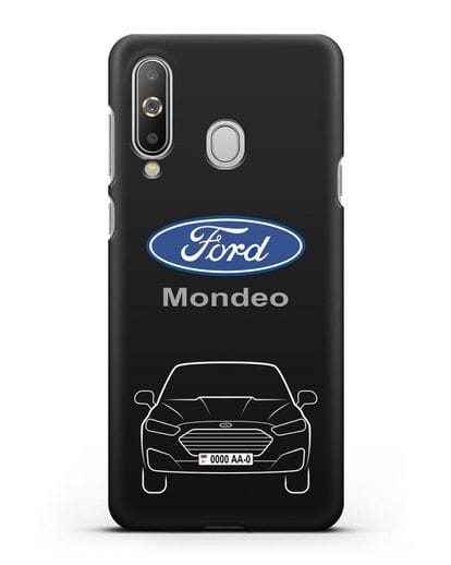 Чехол Ford Mondeo с номерным знаком силикон черный для Samsung Galaxy A8s [SM-G8870]