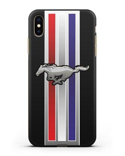 Чехол с логотипом Ford Mustang силикон черный для iPhone XS Max