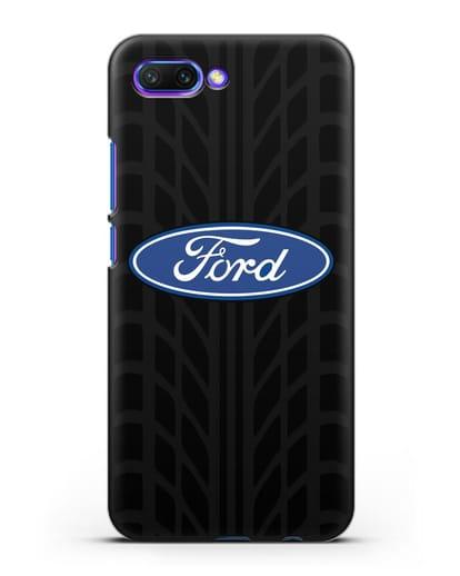 Чехол c эмблемой Ford с протектором шин силикон черный для Honor 10