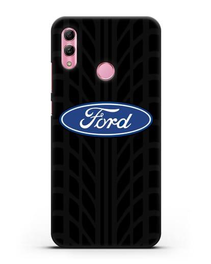 Чехол c эмблемой Ford с протектором шин силикон черный для Honor 10 Lite