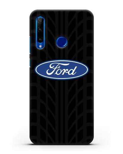 Чехол c эмблемой Ford с протектором шин силикон черный для Honor 10i