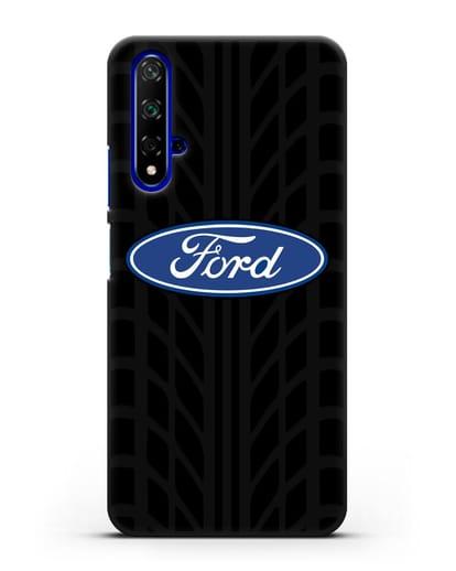 Чехол c эмблемой Ford с протектором шин силикон черный для Honor 20