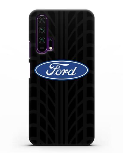 Чехол c эмблемой Ford с протектором шин силикон черный для Honor 20 Pro
