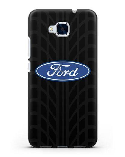 Чехол c эмблемой Ford с протектором шин силикон черный для Honor 5C