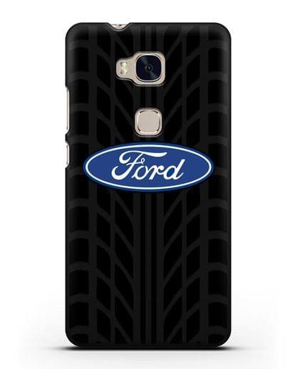 Чехол c эмблемой Ford с протектором шин силикон черный для Honor 5X