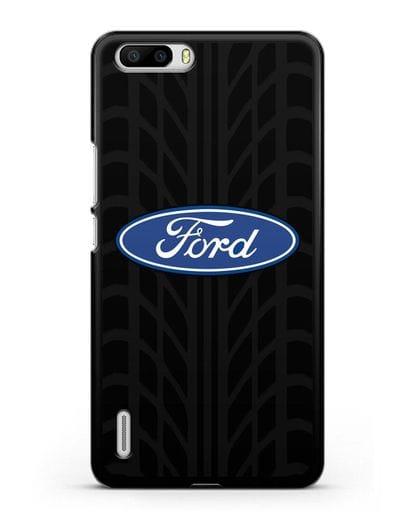 Чехол c эмблемой Ford с протектором шин силикон черный для Honor 6 Plus