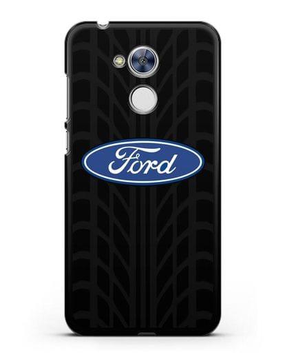 Чехол c эмблемой Ford с протектором шин силикон черный для Honor 6A