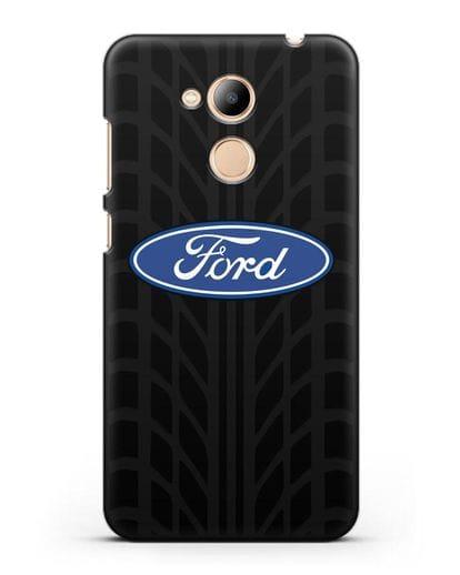 Чехол c эмблемой Ford с протектором шин силикон черный для Honor 6C Pro