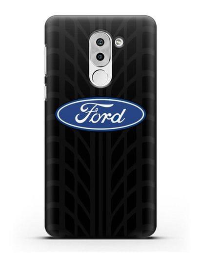 Чехол c эмблемой Ford с протектором шин силикон черный для Honor 6X